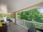 Back Deck with Dining Table Overlooks Pool Area at 3 Laurel Lane