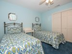 Guest Room with Two Twins Located off Office Area at 2 Red Cardinal