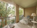 Spacious Back Patio with Dining Table at 108 North Shore