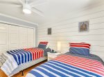 Twin Guest Room with Private Deck and TV at 16 Sea Oak Lane