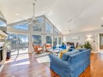 Located Upstairs is the Main Living Room with Ocean Views at 16 Sea Oak Lane