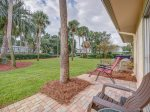 Back Patio with Direct Access to Pool at 34 Hilton Head Cabana