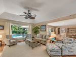 Living Room Overlooks Pool at 38 Battery Road