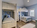 Second Floor Bunk Room with 1 Full and 3 Twins is Great for Kids at 10 Sea Hawk Lane