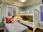 Second Floor Guest Room with Twin Bed and Bunk Beds at 95 Dune Lane