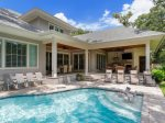 Spacious Pool Area with Outdoor Dining at 28 Stoney Creek