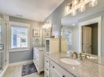 Beautiful Master Bathroom with His and Hers Vanity and Walk-in Shower at29 Pelican