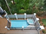 View of Pool and Hot Tub from Second Floor Balcony at 29 Pelican