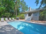 Spacious and Sunny Pool Deck at 152 N Sea Pines Drive