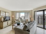 Living Room with TV and Ocean Views at 1505 Villamare
