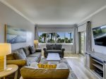 Living Room with TV and Ocean Views at 411 Captains Walk
