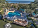 Large Oceanfront Pool with Sundeck is just steps from the beach in the Barrington Complex on Hilton Head