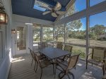 Screen Porch off Living Room with Beautiful Marsh Views at 12 Black Tern