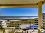 Balcony off the Master Bedroom with Beach and Pool Views at 1501 Villamare