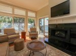 Living Room with Electric Fireplace and Views of Calibogue Sound