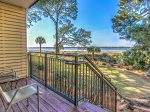 Walk-Off Deck to Beach Along Calibogue Sound at 1887 Beachside Tennis