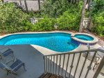 Spacious deck surrounds the pool and spa at 21 Ruddy Turnstone