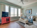 Living Room with New Furniture and Direct Ocean Views at 3502 Sea Crest
