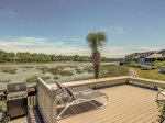 Back Deck with BBQ Grill and Beautiful Water Views at 38 Lands End Road at Low Tide