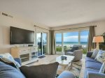 Living Room with Oceanfront Balcony Access at 409 Shorewood