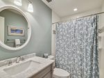 Private Guest Bath with Shower/Tub Combo at 46 Lands End Road