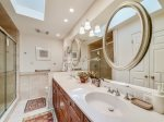 Master Bathroom with Double Vanity and Shower Only at 4 Audubon Pond