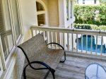 Private Balcony off Master Bedroom Overlooks Pool at 5 Long Boat