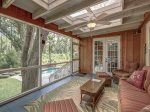 Peaceful Screened Porch Overlooks Pool at 74 Baynard Cove