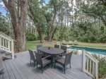 Outside Deck with Dining Table and BBQ Grill at 74 Baynard Cove