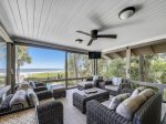 Screen Porch off of Dining Area at 8 East Beach Lagoon with Outdoor TV