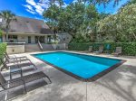 Large, Private pool at 6 Man O War in Palmetto Dunes is located in the front of the home