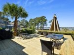 Outdoor Dining on Back Deck with Water Views at 17 Lands End