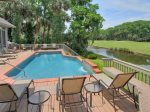 3 Pyxie has a Large Pool Deck with Sweeping Views of the Golf Course in Sea Pines