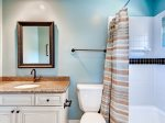 Bathroom off Upstairs Twin bedroomSea Pines Vacation Rental3 Pyxie