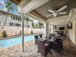 Pool with Covered Patio and Privacy Fence at 58 Dune Lane