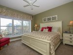 The Master Bedroom at 5403 Hampton Place has beautiful oceanviews and a flat panel TV