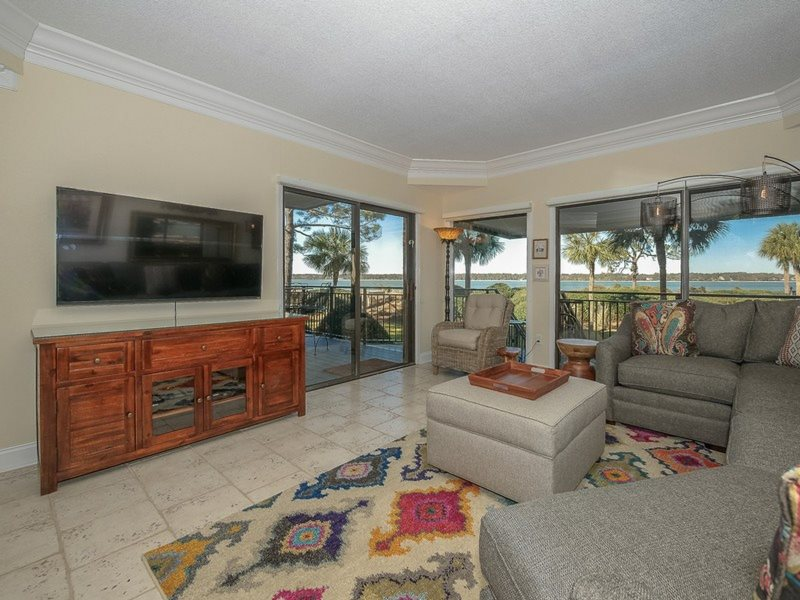 Living Room With New Furniture And Views Of The Calibogue Sound At 1848 Beachside Tennis