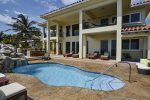 Huge pool deck, exterior dining, sun loungers, day beds and balconies overlooking the caribbean