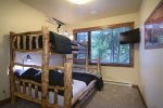 Guest Room with Custom Log Bunks, Queen on Bottom, Twin on Top