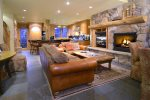 Cozy living room with ski or mountain bike access out the back door