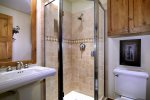 Hall Bathroom with Walk-In Shower for the Guests in the Twin Bedroom.