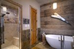 Master bathroom with a soaking tub and walk-in shower
