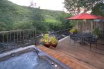 The second deck is a private oasis with sunken hot tub