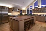 Large, fully equipped kitchen with 8 burner Wolfe Range