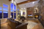 Open Living Room with Gas Fireplace and Grand Views