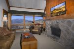 Large windows with fabulous mountain views.