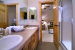 Jack and Jill Bathroom joins the Twin Bedroom and Queen Bedroom