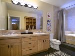 Oversized Full Bath in Hall With Dual Vanities