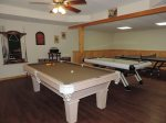 Game Room with Pool Table, Air Hockey Table and Ping Pong Table