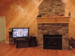 40 Flat Screen TV with Gas Stone Fireplace